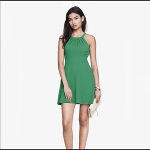Express Women's Green Fit And Flare Halter Dress 4